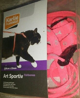 KARLIE Art Sportiv CAT Harness and Lead SET Fish DESIGN FLURECENT Pink