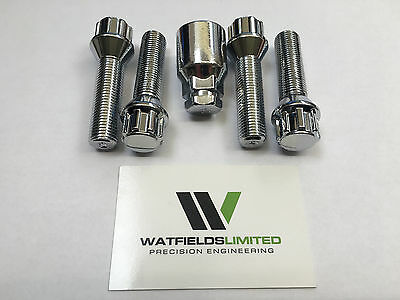 4 x M14x1.5 Wheel Locking Bolts, Tapered Seat, 17/19mm Hex, 40mm Thread Length
