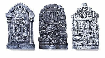Pack Of 3 Small Graveyard Tombstones, Halloween Prop, Party Decoration #au