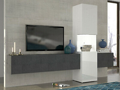 wohnwand anbauwand h ngeschr nke grau weiss hochglanz. Black Bedroom Furniture Sets. Home Design Ideas