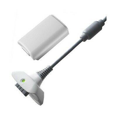 NEW WHITE XBOX 360 PLAY AND CHARGE KIT 4800mAH RECHARGEABLE BATTERY PACK & CABLE