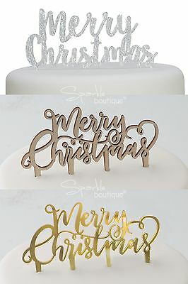 MERRY CHRISTMAS CAKE TOPPERS -Vintage/Boho Wood & Sparkly Silver-Xmas Decoration