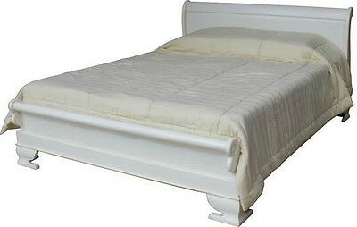 "4'6"" Double Sleigh Bed Solid Mahogany Antique White with low footboard B010P"