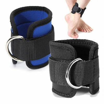 2x Ankle Strap D-ring Thigh Leg Pulley Gym Weight Lifting Multi Cable Attachment