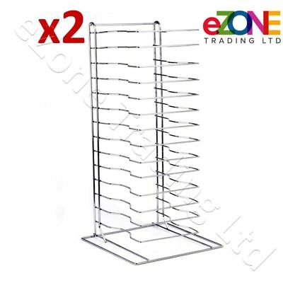 2x Pizza Pan Rack 15-Slot Shelf for Stacking Thin Pans Trays Screen Separator