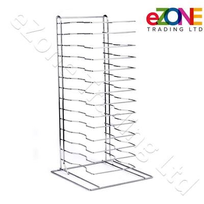 Pizza Pan Rack 15-Slot Shelf Stack for Stacking Thin Pans Trays Separator Screen