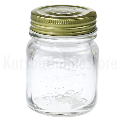 Gold Lid Glass Storage Jar 200ml Wedding Favours Kitchen Conserve Jam Spice Bulk