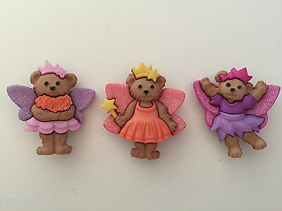 Fairy Bears - DRESS IT UP Novelty Craft Buttons