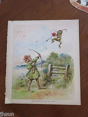 Vintage Awesome Frog Print/Colorful Green Archer Bow Arrow/Smile Book Print/
