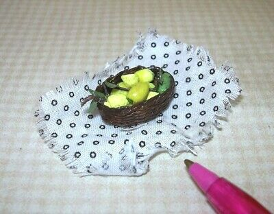 Miniature Artisan Rustic Display of Lemons in Basket (#3): DOLLHOUSE Food 1/12