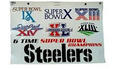 Pittsburgh Steelers 6 Time Superbowl Static Cling Decal Sheet Party Game Day