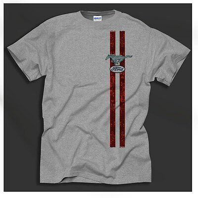 Ford Mustang 60's Retro American Classic Car Design Red Stripe Grey Shirt