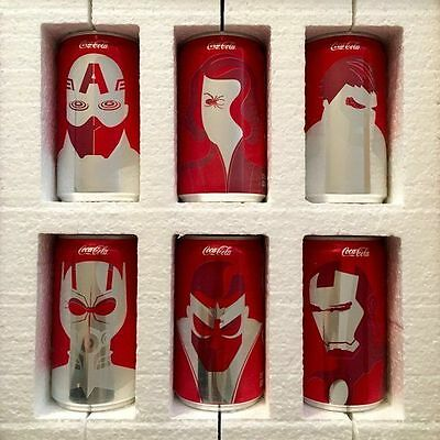 FIRST EDITION Coca-Cola MARVEL Avengers Mini Can 6 Pack Complete Set NEW Coke