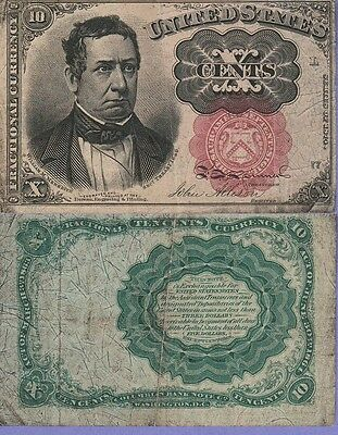 """United States""""Fractional Currency""""10 Cents Banknote 1874 Choice Fine Cat#FR1265"""