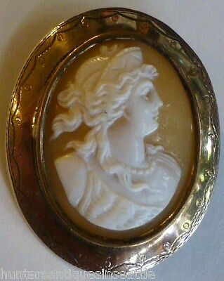 Victorian gold wash 830 Silver carved shell cameo Brooch