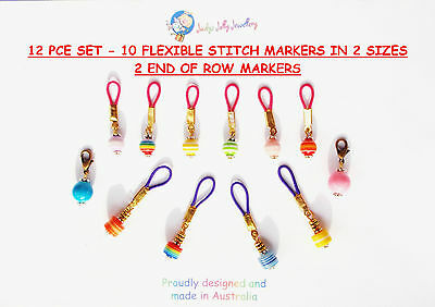 12 PCS 10 FLEXIBLE KNITTING STITCH MARKER 2 SIZE 4mm & 7mm + 2 END of ROW MARKER