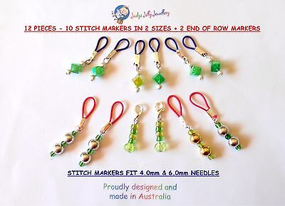 12 PCS 10 GREEN FLEXIBLE KNITTING STITCH MARKERS 2 SIZES + 2 to MARK END of ROW