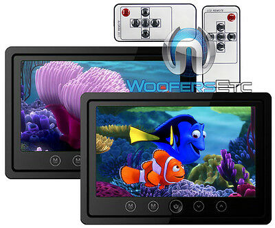 """2 XO VISION 7"""" TV WIDE SCREENS HEADREST MONITORS TOUCH BUTTON IR for HEADPHONES"""