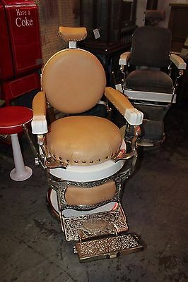 Vintage 1920's Koken Porcelain Round Seat Antique Barber Shop Chair- Restored
