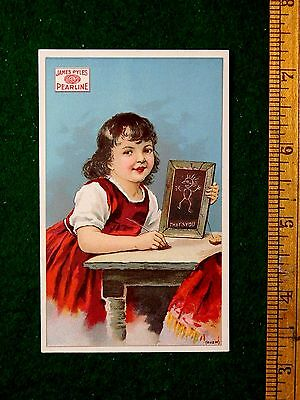 1870s-80s Love Girl Slate Board Pearline Soap Pixies On Back Victorian Card F28