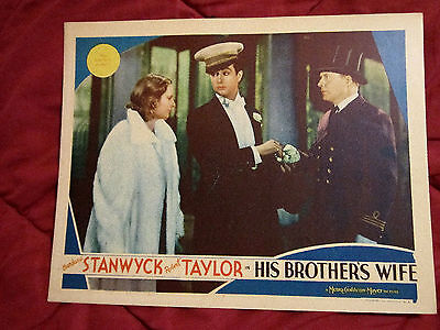 His Brothers Wife (1936) Barbara Stanwyck & Robert Taylor - Original Lobby Card