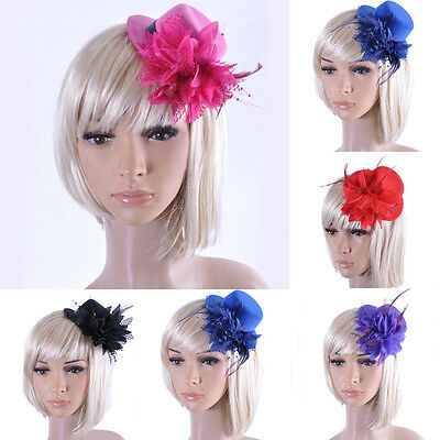 Stylish Women Lady's Beauty Flower Top Hat Feather Fascinator Wedding Hair Clip