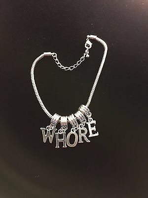"""Sexy """"WHORE"""" Anklet Swinger Queen of Spades Jewelry Fetish BBC Cuckold 108"""