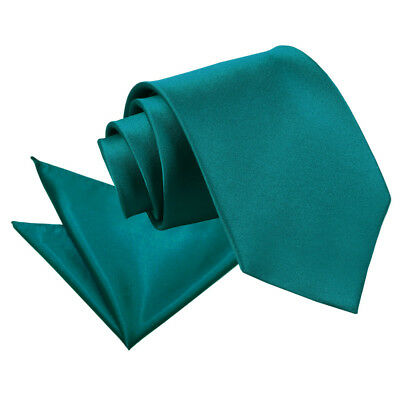 DQT Satin Plain Solid Teal Mens Classic Tie & Hanky Wedding Set