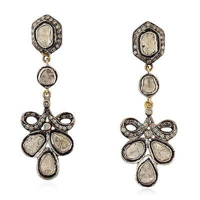 Victorian Style 1.42 Ct Rose Cut Diamond Sterling Silver Earrings