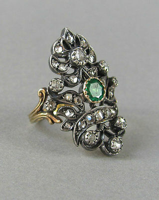 Victorian 1.45 Ct Rose Cut Diamond & Emerald Sterling Silver Engagement  Ring