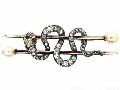 Victorian 1.40 Ctw Rose Cut Diamond 925% Sterling Silver Elegance Snake Brooch