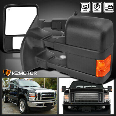 08-16 F250 F350 F450 SuperDuty Power+Heated Extend Towing Mirrors LED Signal