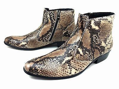 Men's Snake Skin Print Real Calf Leather Dress Formal Funky Shoes Boots Burgundy