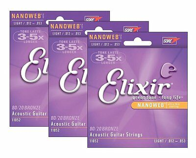 3X Elixir 11052 Acoustic Guitar Strings Nanoweb Light 12-53 80/20 Bronze A-NW-L