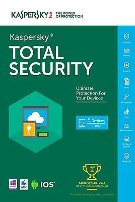 KTS3 Kaspersky Total Security 2017 per 5 dispostivi PC 1 Anno Licenza  ESD