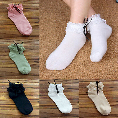 Women Lace Ruffle Frilly Ankle Socks Princess Cute Girls Cotton Short Socks