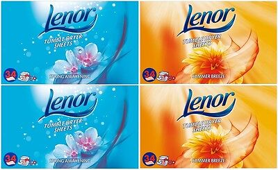 Lenor Tumble Dryer Sheets (4 x 34 Pack) Total 136 Sheets!