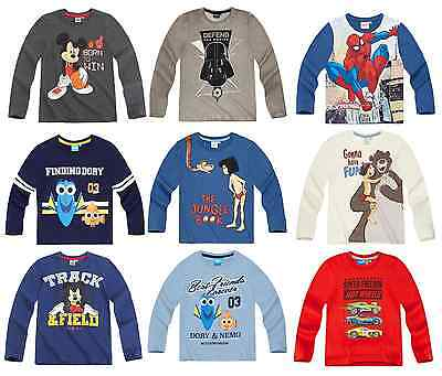 Boys Kids Official Licensed Disney Various Character Long Sleeve T Shirt Top