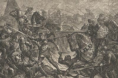 Antique Print, Wars Of The Roses, Battle Of Towton 1461