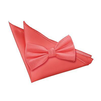 New Dqt Solid Check Coral  Men's Pre-Tied Wedding  Bow Tie & Hanky Set