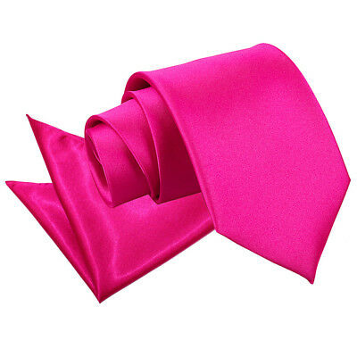 DQT Satin Plain Solid Hot Pink Mens Classic Tie & Hanky Wedding Set