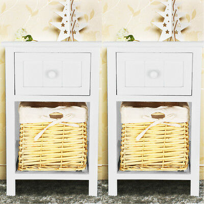 Pair of Grey Shabby Chic Bedside Unit Tables Drawers Cabinet with Wicker Storage
