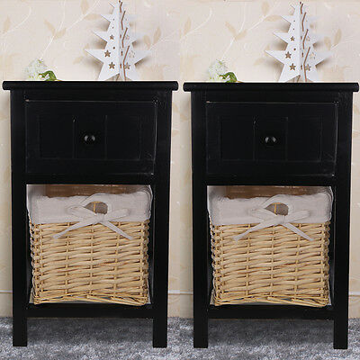 Pair of Black Shabby Chic Bedside Unit Tables Drawers Cabinet + Wicker Storage