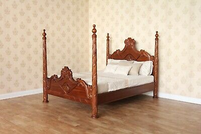 6' Super King Versailles Four Poster Bed Solid Mahogany Hand Carved NEW B026