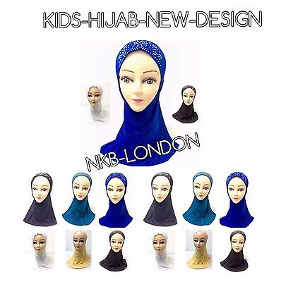 Muslim Kids Girls Hijab Islamic Headscarf  Design Glass Work Hijab Scarf Wrap