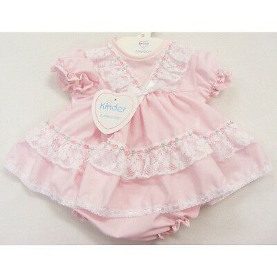 Baby Girls Pink Frilly Lace Trim Rosebud Dress With Knickers Newborn 0-3 3-6 M