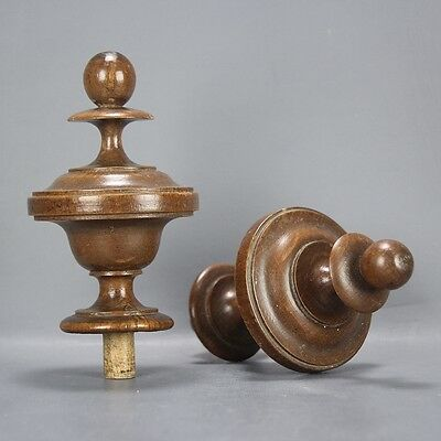 Pair of Antique French Carved Wood Finials