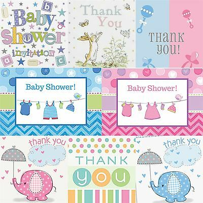 Baby Shower Invitations Cards & Thank you Cards Party Envelopes Boy Girl Neutral