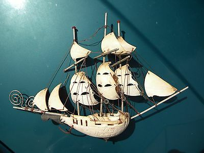 Antique Hand Made Carved Seashell Sailing Ship One of a Kind
