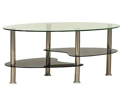 New Contemporary Oval Coffee Table Black Clear Gl 3 Tier Chrome Legs